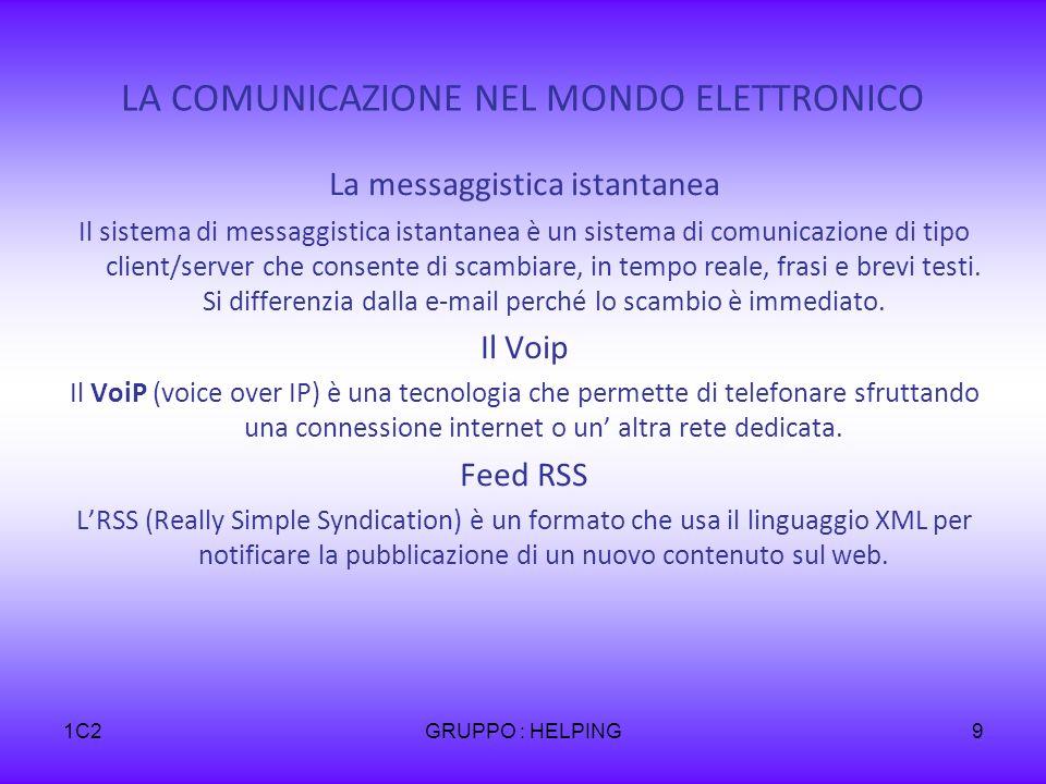 1C2GRUPPO : HELPING9 LA COMUNICAZIONE NEL MONDO ELETTRONICO La messaggistica istantanea Il sistema di messaggistica istantanea è un sistema di comunicazione di tipo client/server che consente di scambiare, in tempo reale, frasi e brevi testi.
