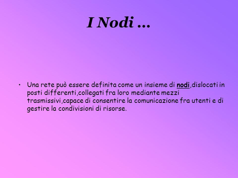 I Nodi … Una rete può essere definita come un insieme di nodi,dislocati in posti differenti,collegati fra loro mediante mezzi trasmissivi,capace di co