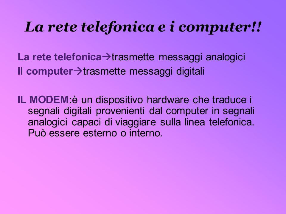 La rete telefonica e i computer!! La rete telefonica trasmette messaggi analogici Il computer trasmette messaggi digitali IL MODEM:è un dispositivo ha