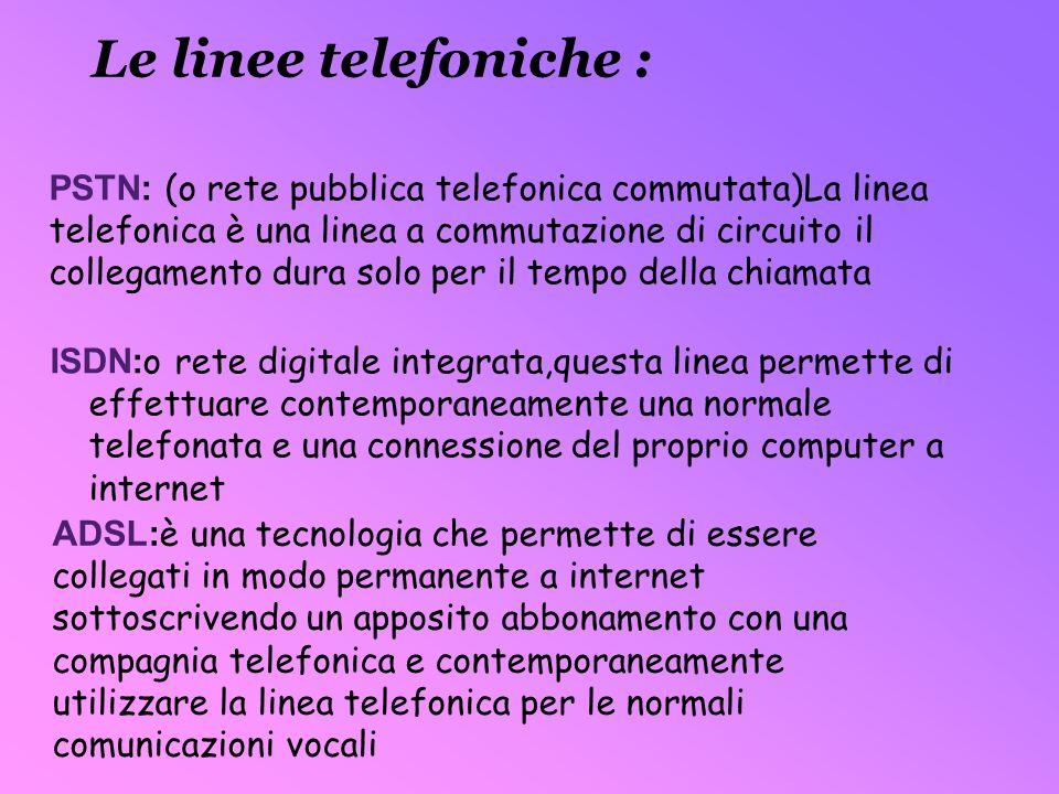 PSTN: (o rete pubblica telefonica commutata)La linea telefonica è una linea a commutazione di circuito il collegamento dura solo per il tempo della ch
