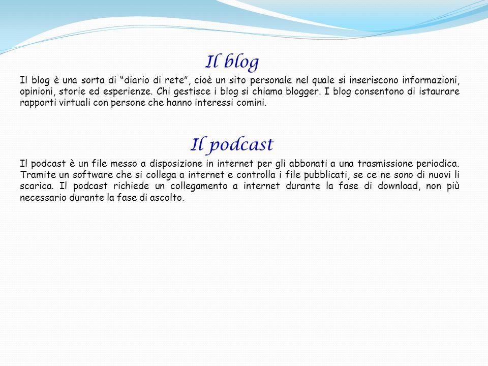 Il blog Il blog è una sorta di diario di rete, cioè un sito personale nel quale si inseriscono informazioni, opinioni, storie ed esperienze. Chi gesti