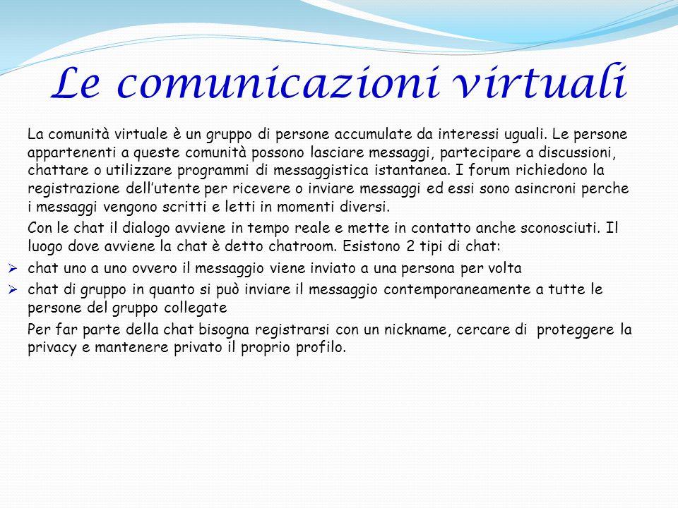 Le comunicazioni virtuali La comunità virtuale è un gruppo di persone accumulate da interessi uguali. Le persone appartenenti a queste comunità posson