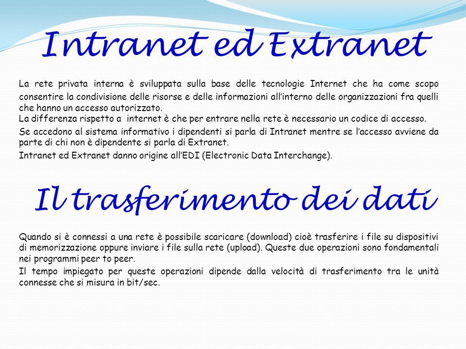 Intranet ed Extranet La rete privata interna è sviluppata sulla base delle tecnologie Internet che ha come scopo consentire la condivisione delle riso