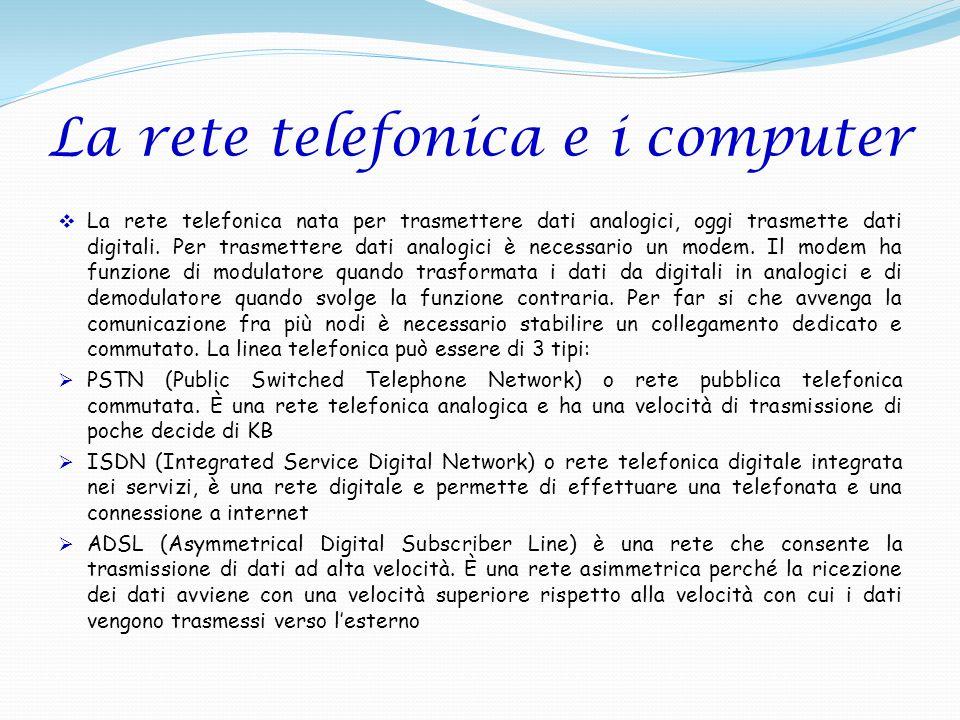 La rete telefonica nata per trasmettere dati analogici, oggi trasmette dati digitali. Per trasmettere dati analogici è necessario un modem. Il modem h