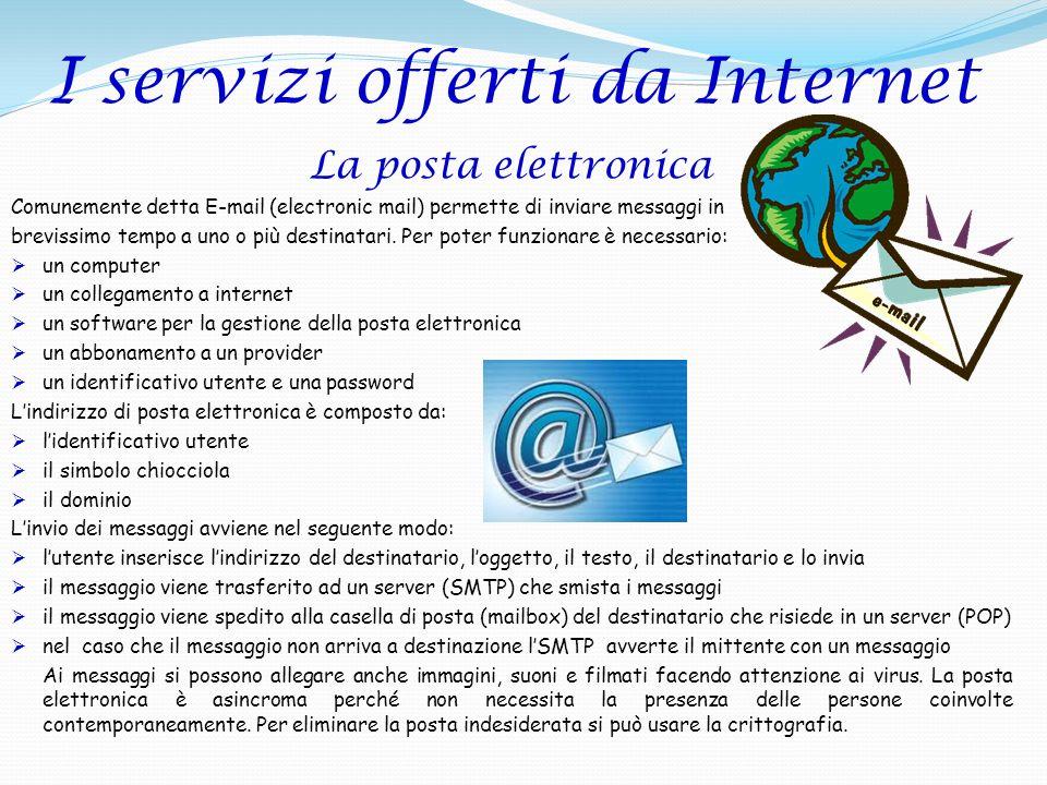 I servizi offerti da Internet La posta elettronica Comunemente detta E-mail (electronic mail) permette di inviare messaggi in brevissimo tempo a uno o