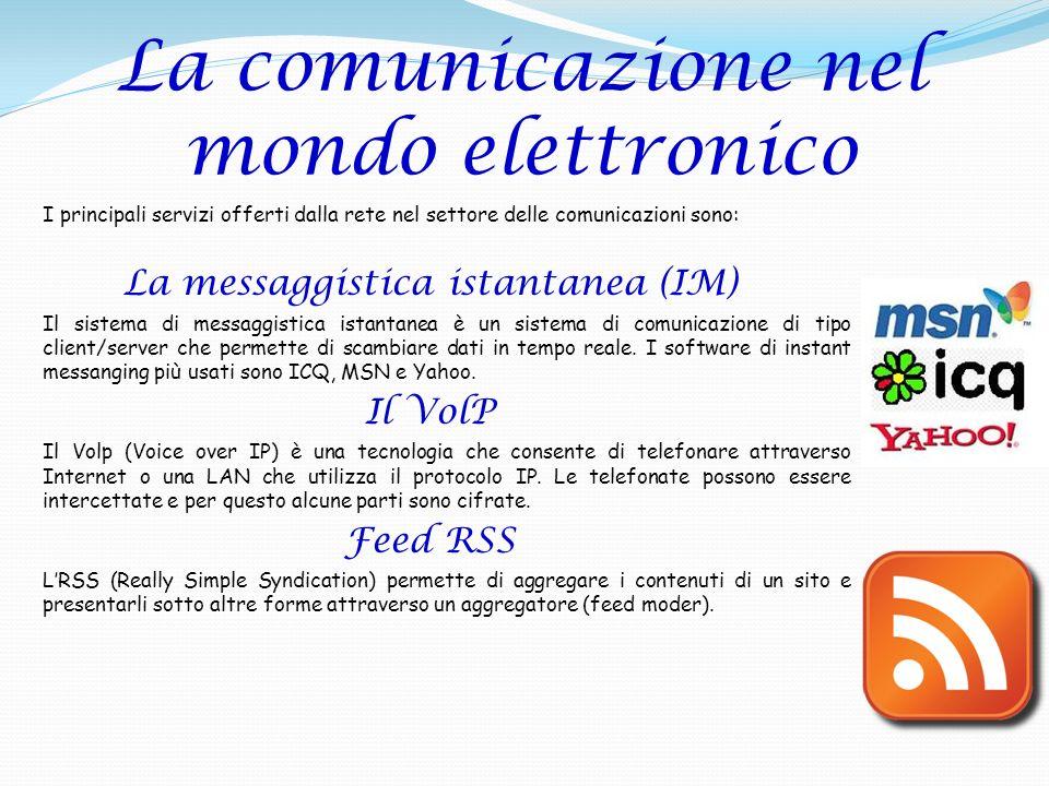 La comunicazione nel mondo elettronico I principali servizi offerti dalla rete nel settore delle comunicazioni sono: La messaggistica istantanea (IM)
