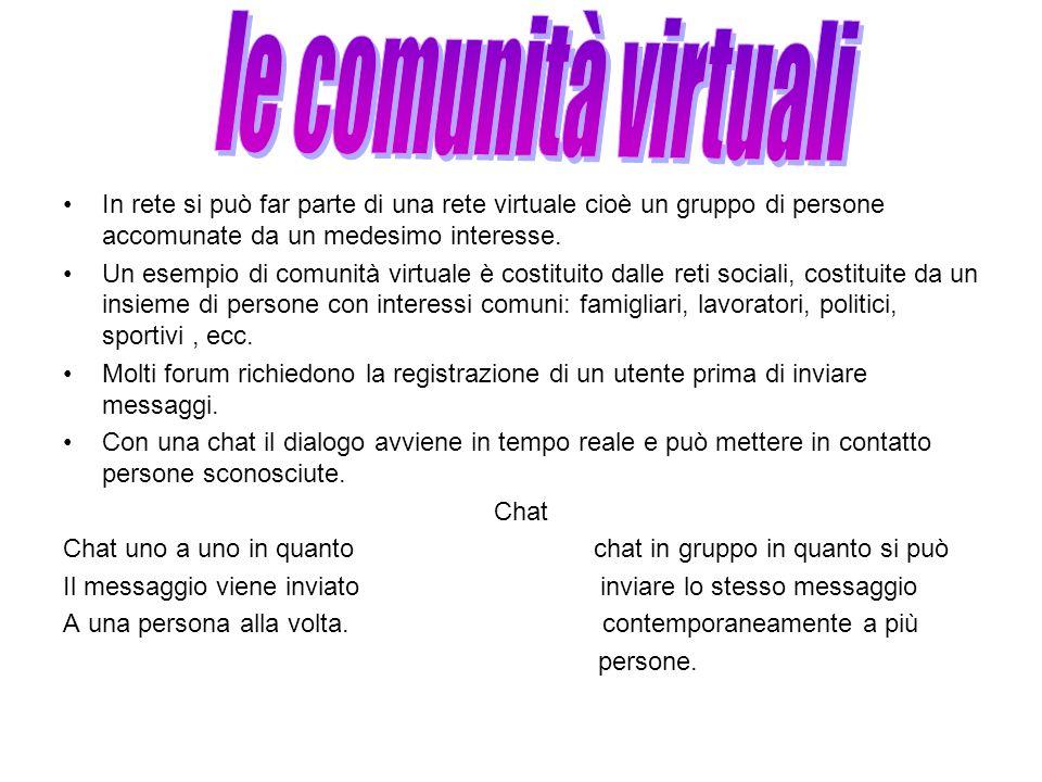 In rete si può far parte di una rete virtuale cioè un gruppo di persone accomunate da un medesimo interesse. Un esempio di comunità virtuale è costitu
