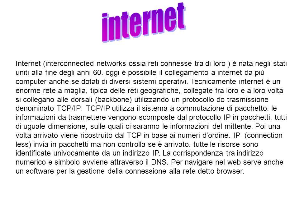 Internet (interconnected networks ossia reti connesse tra di loro ) è nata negli stati uniti alla fine degli anni 60. oggi è possibile il collegamento