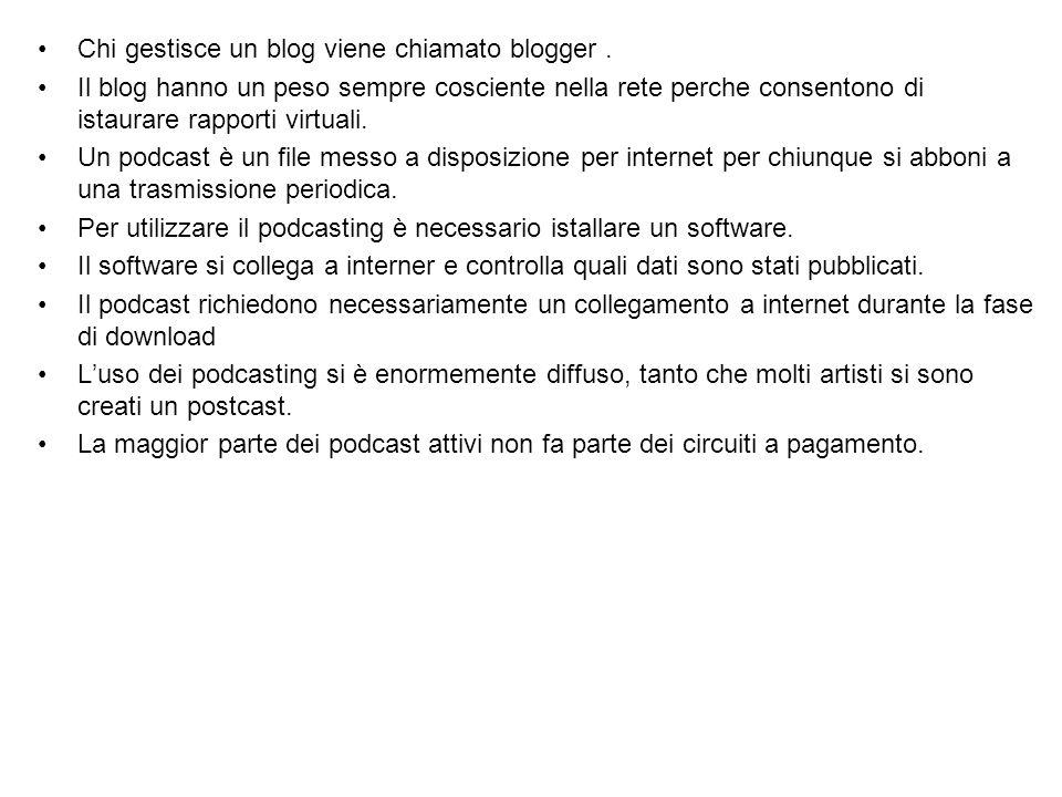 Chi gestisce un blog viene chiamato blogger. Il blog hanno un peso sempre cosciente nella rete perche consentono di istaurare rapporti virtuali. Un po