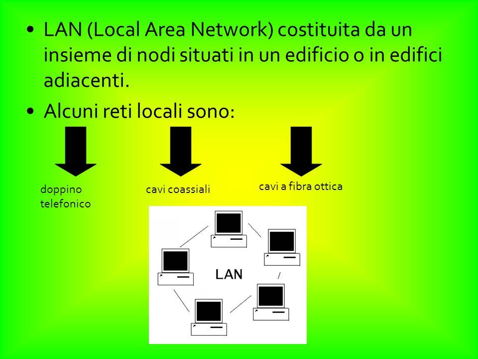 LAN (Local Area Network) costituita da un insieme di nodi situati in un edificio o in edifici adiacenti. Alcuni reti locali sono: doppino telefonico c