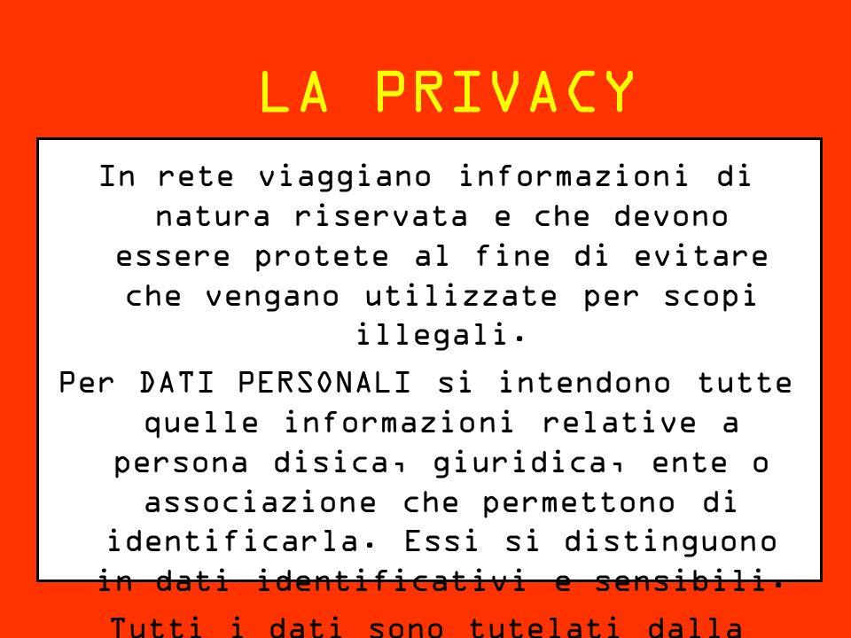 LA PRIVACY In rete viaggiano informazioni di natura riservata e che devono essere protete al fine di evitare che vengano utilizzate per scopi illegali.