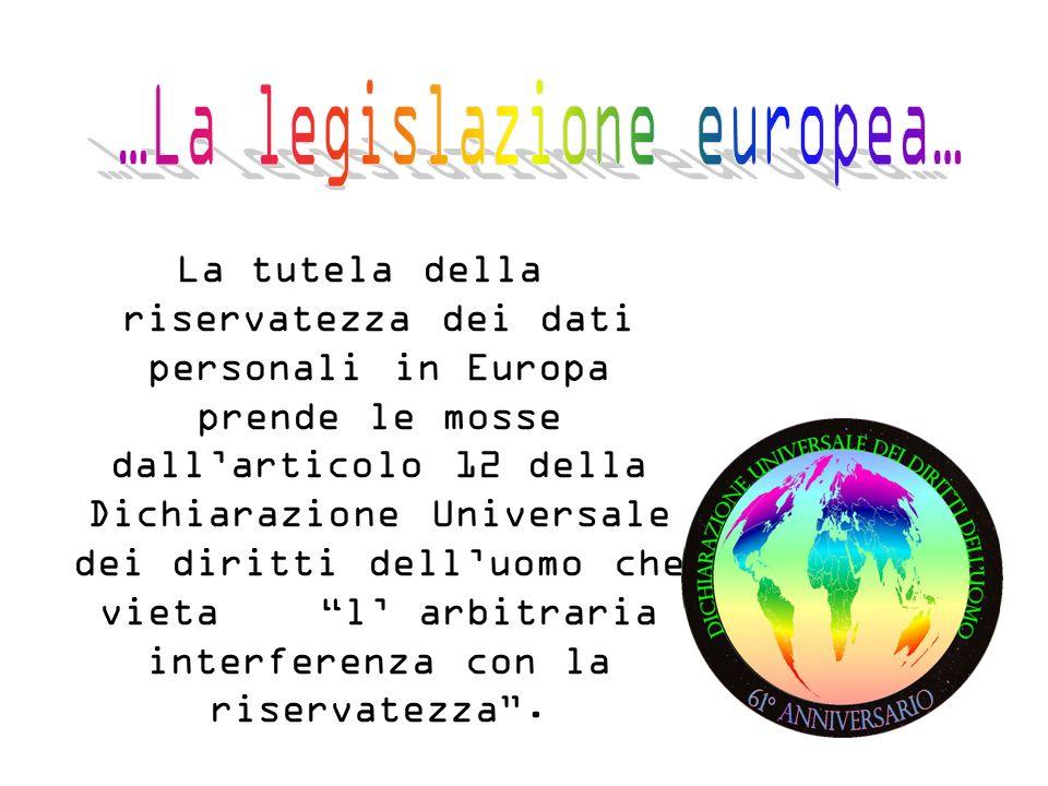 La tutela della riservatezza dei dati personali in Europa prende le mosse dallarticolo 12 della Dichiarazione Universale dei diritti delluomo che vieta l arbitraria interferenza con la riservatezza.