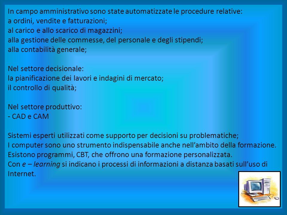In campo amministrativo sono state automatizzate le procedure relative: a ordini, vendite e fatturazioni; al carico e allo scarico di magazzini; alla