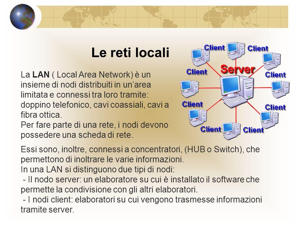 Le reti locali La LAN ( Local Area Network) è un insieme di nodi distribuiti in unarea limitata e connessi tra loro tramite: doppino telefonico, cavi coassiali, cavi a fibra ottica.