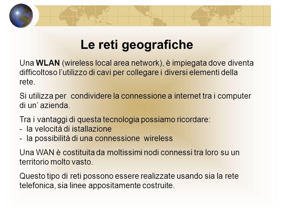 Le reti geografiche Una WLAN (wireless local area network), è impiegata dove diventa difficoltoso lutilizzo di cavi per collegare i diversi elementi della rete.