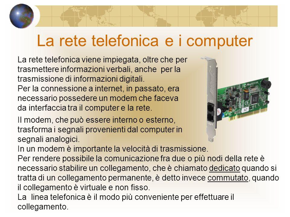 La rete telefonica e i computer La rete telefonica viene impiegata, oltre che per trasmettere informazioni verbali, anche per la trasmissione di informazioni digitali.