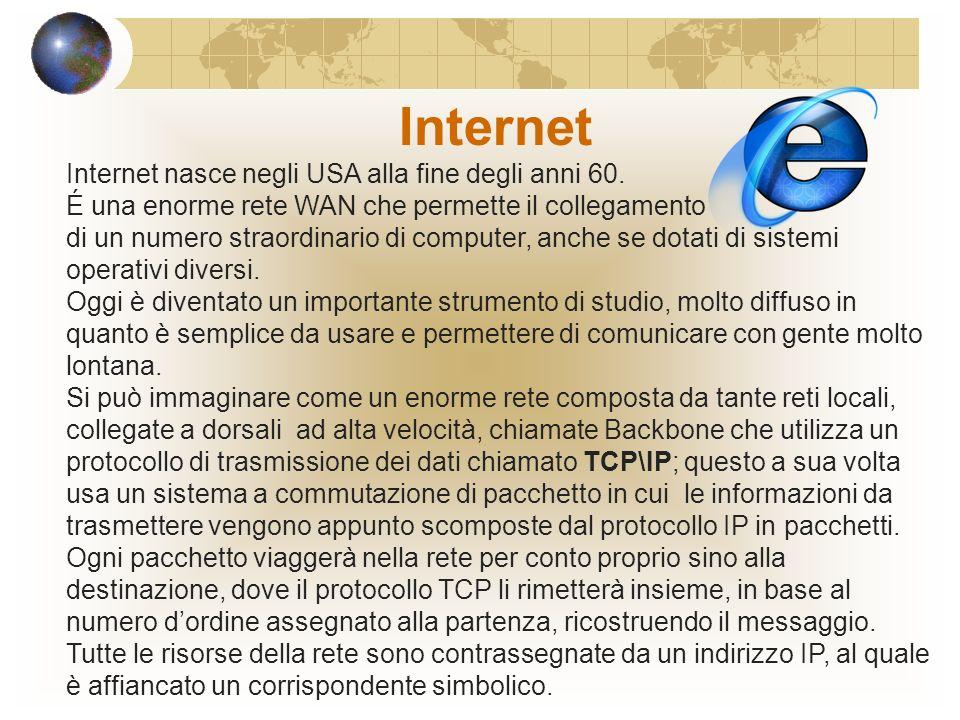 Internet nasce negli USA alla fine degli anni 60.