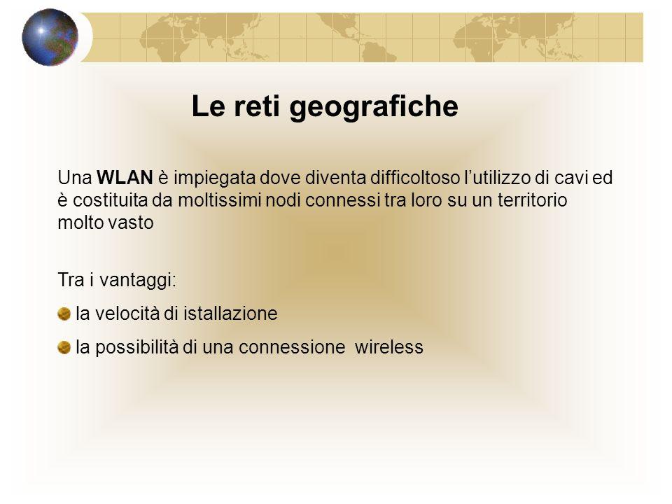 Le reti locali La LAN : insieme di nodi distribuiti in unarea limitata e connessi tra loro LAN HUB o Switch Sono connessi a concentratori, (HUB o Switch) Il nodo serverI nodi client