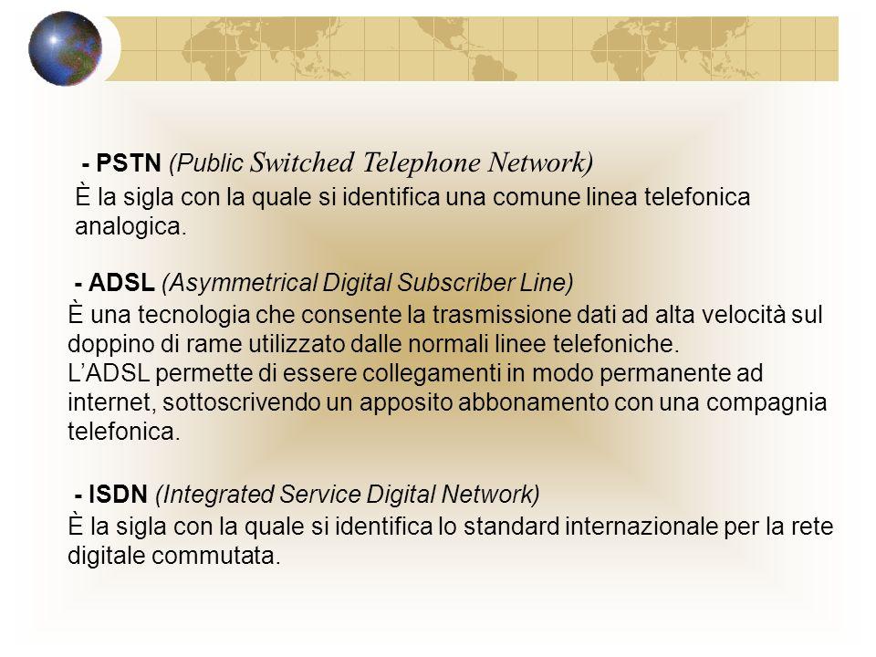 La rete telefonica e i computer La rete telefonica viene impiegata: per trasmettere informazioni verbali per trasmettere informazioni digitali, tramite modem esterno o interno Un collegamento può essere dedicato commutato collegamento permanente collegamento virtuale e non fisso