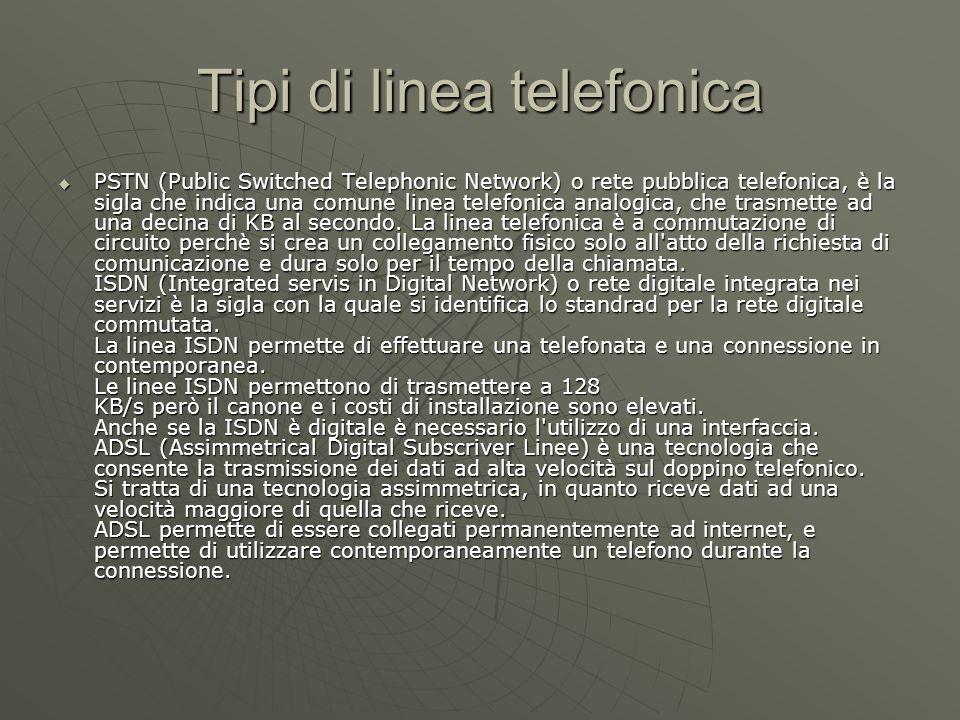 Tipi di linea telefonica PSTN (Public Switched Telephonic Network) o rete pubblica telefonica, è la sigla che indica una comune linea telefonica analogica, che trasmette ad una decina di KB al secondo.