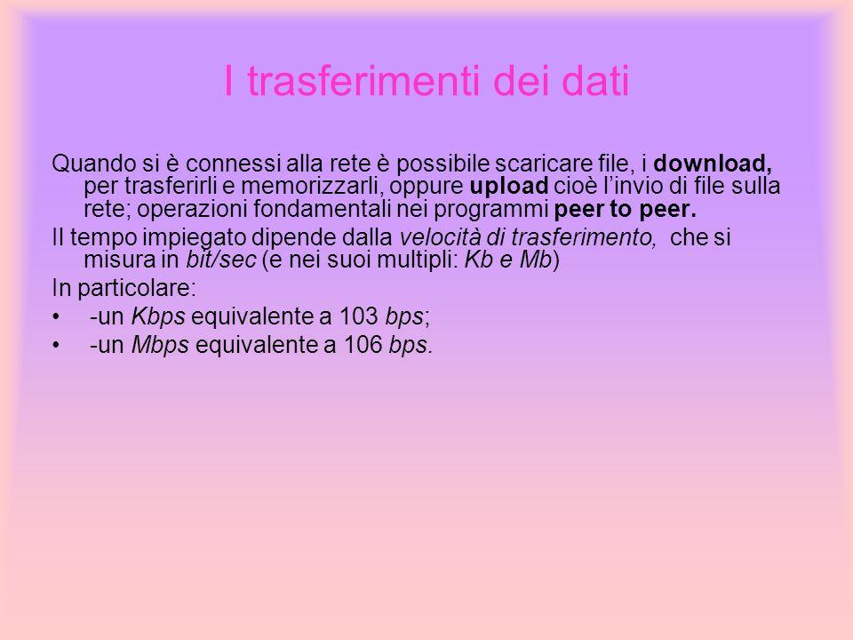 I trasferimenti dei dati Quando si è connessi alla rete è possibile scaricare file, i download, per trasferirli e memorizzarli, oppure upload cioè lin