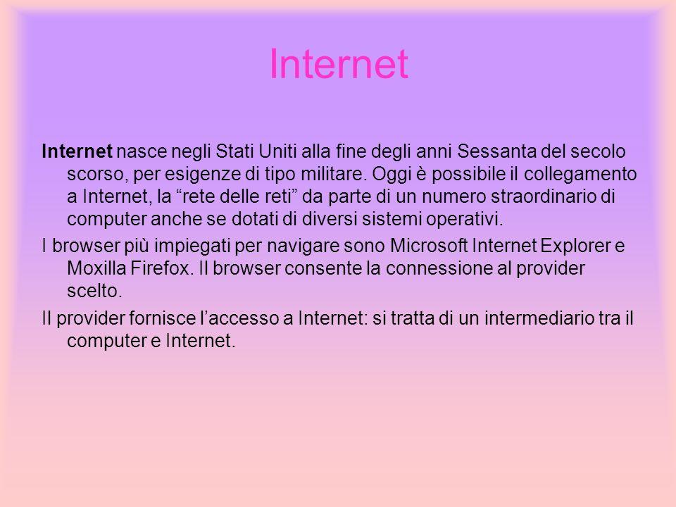 Internet Internet nasce negli Stati Uniti alla fine degli anni Sessanta del secolo scorso, per esigenze di tipo militare. Oggi è possibile il collegam