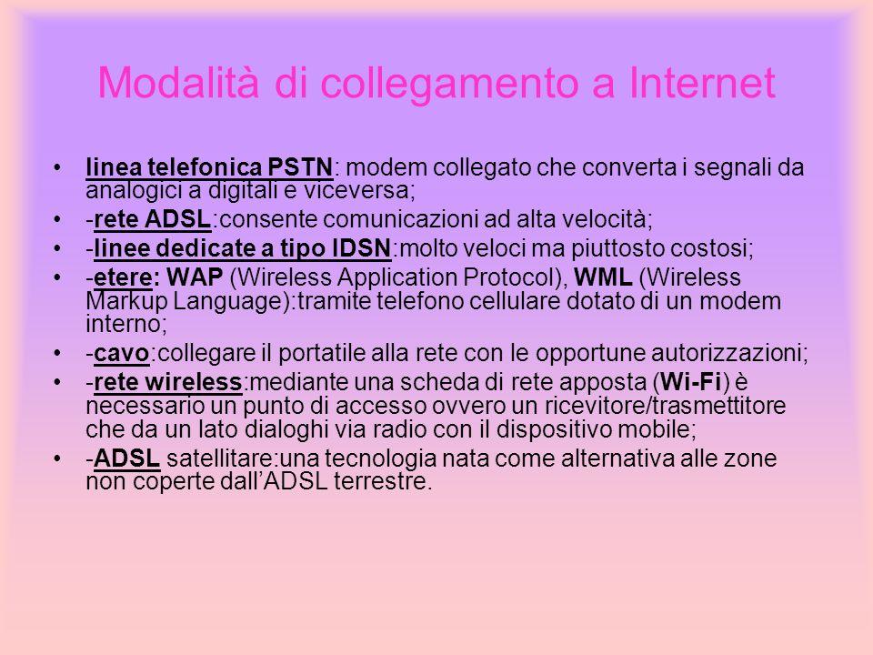 Modalità di collegamento a Internet linea telefonica PSTN: modem collegato che converta i segnali da analogici a digitali e viceversa; -rete ADSL:cons