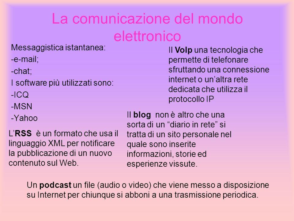 La comunicazione del mondo elettronico Messaggistica istantanea: -e-mail; -chat; I software più utilizzati sono: -ICQ -MSN -Yahoo Il Volp una tecnolog