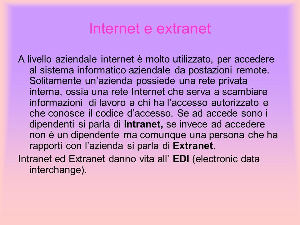 Internet e extranet A livello aziendale internet è molto utilizzato, per accedere al sistema informatico aziendale da postazioni remote. Solitamente u