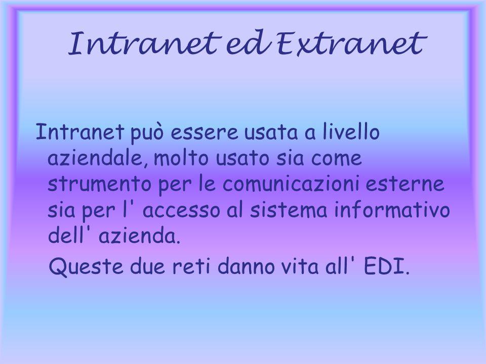 Intranet ed Extranet Intranet può essere usata a livello aziendale, molto usato sia come strumento per le comunicazioni esterne sia per l accesso al sistema informativo dell azienda.