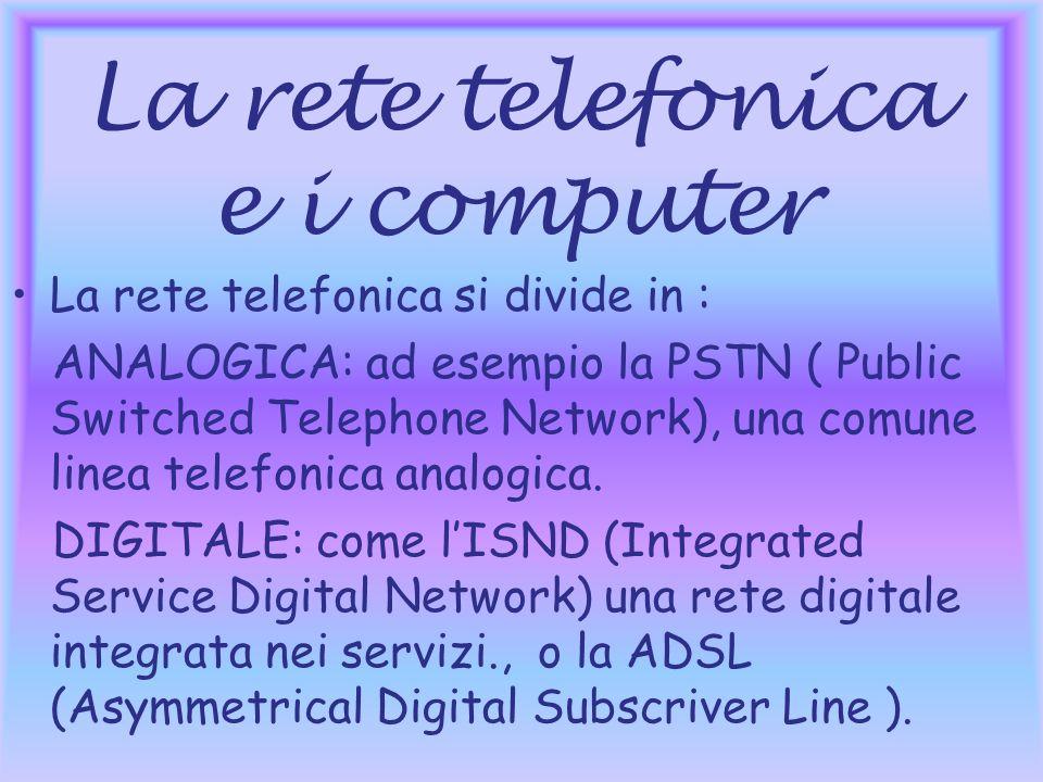 La rete telefonica e i computer La rete telefonica si divide in : ANALOGICA: ad esempio la PSTN ( Public Switched Telephone Network), una comune linea telefonica analogica.