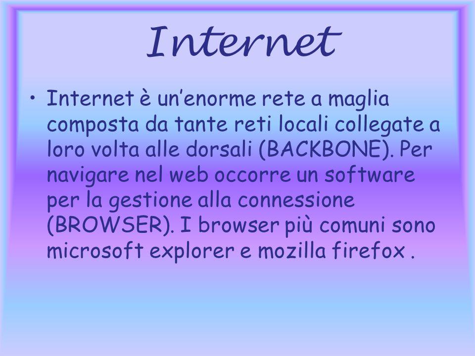 Internet Internet è unenorme rete a maglia composta da tante reti locali collegate a loro volta alle dorsali (BACKBONE).
