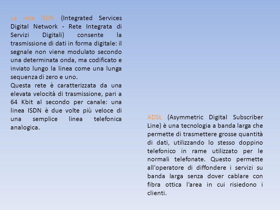 La rete ISDN (Integrated Services Digital Network - Rete Integrata di Servizi Digitali) consente la trasmissione di dati in forma digitale: il segnale