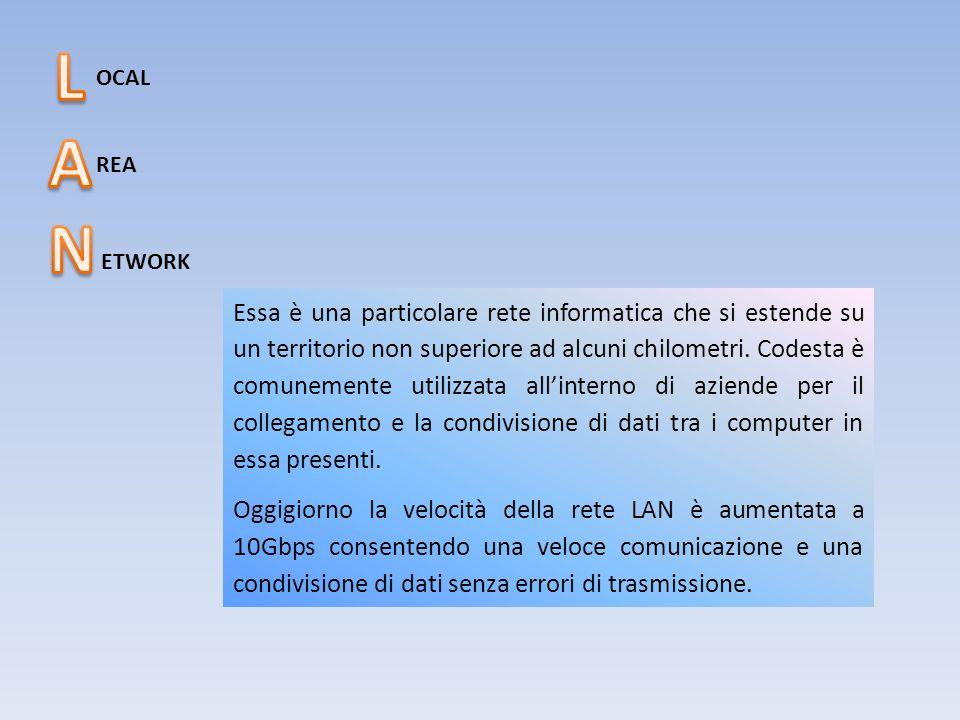 OCAL REA ETWORK Essa è una particolare rete informatica che si estende su un territorio non superiore ad alcuni chilometri. Codesta è comunemente util