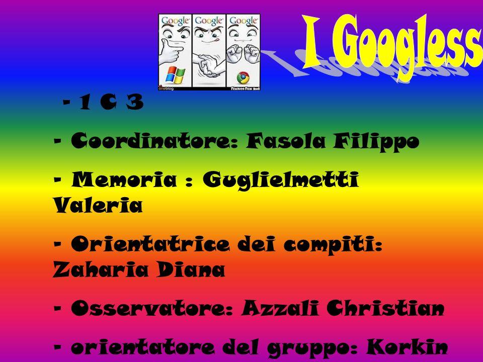 - 1 C 3 - Coordinatore: Fasola Filippo - Memoria : Guglielmetti Valeria - Orientatrice dei compiti: Zaharia Diana - Osservatore: Azzali Christian - orientatore del gruppo: Korkin Daniil