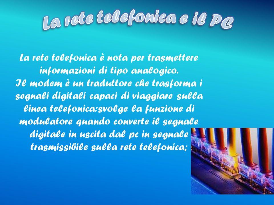 La rete telefonica è nota per trasmettere informazioni di tipo analogico.