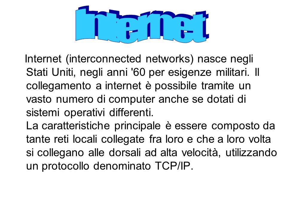 Internet (interconnected networks) nasce negli Stati Uniti, negli anni '60 per esigenze militari. Il collegamento a internet è possibile tramite un va