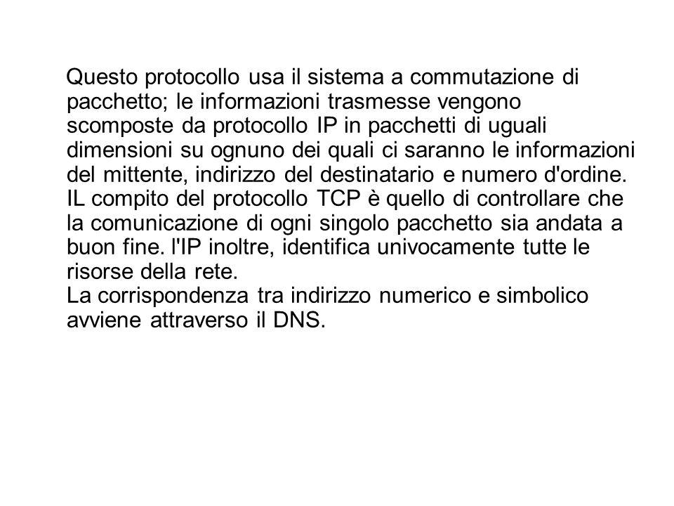 Questo protocollo usa il sistema a commutazione di pacchetto; le informazioni trasmesse vengono scomposte da protocollo IP in pacchetti di uguali dime