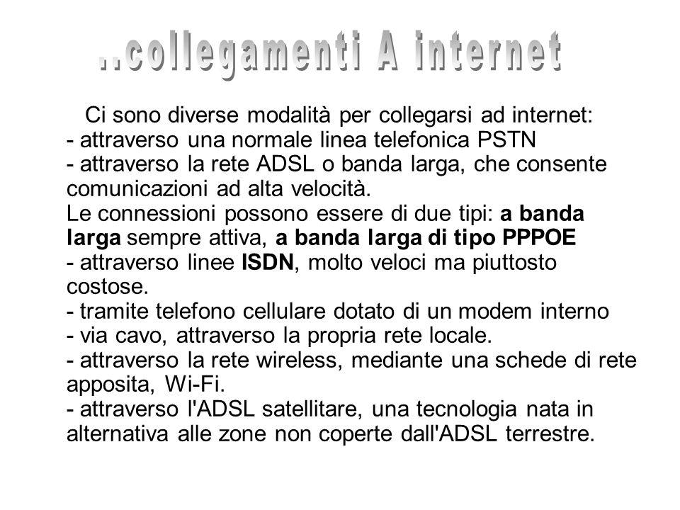Ci sono diverse modalità per collegarsi ad internet: - attraverso una normale linea telefonica PSTN - attraverso la rete ADSL o banda larga, che conse