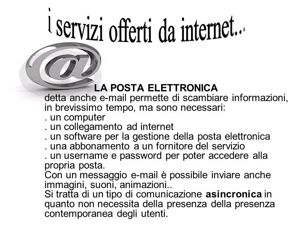 LA POSTA ELETTRONICA detta anche e-mail permette di scambiare informazioni, in brevissimo tempo, ma sono necessari:. un computer. un collegamento ad i