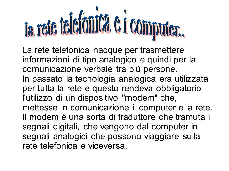 La rete telefonica nacque per trasmettere informazioni di tipo analogico e quindi per la comunicazione verbale tra più persone. In passato la tecnolog