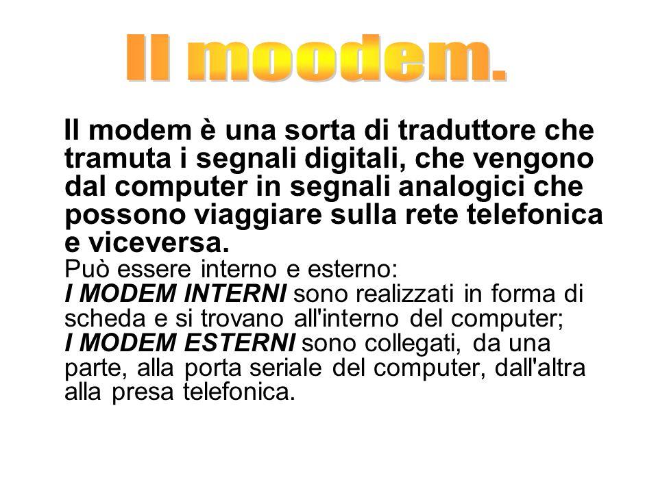 Il modem è una sorta di traduttore che tramuta i segnali digitali, che vengono dal computer in segnali analogici che possono viaggiare sulla rete tele