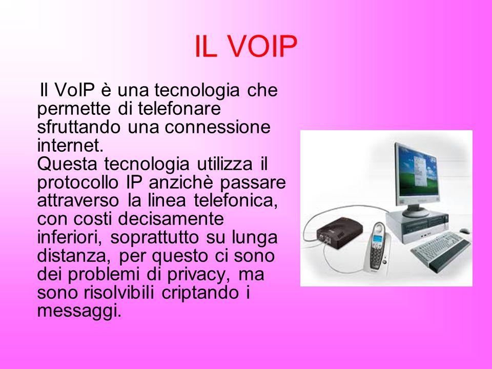 IL VOIP Il VoIP è una tecnologia che permette di telefonare sfruttando una connessione internet. Questa tecnologia utilizza il protocollo IP anzichè p