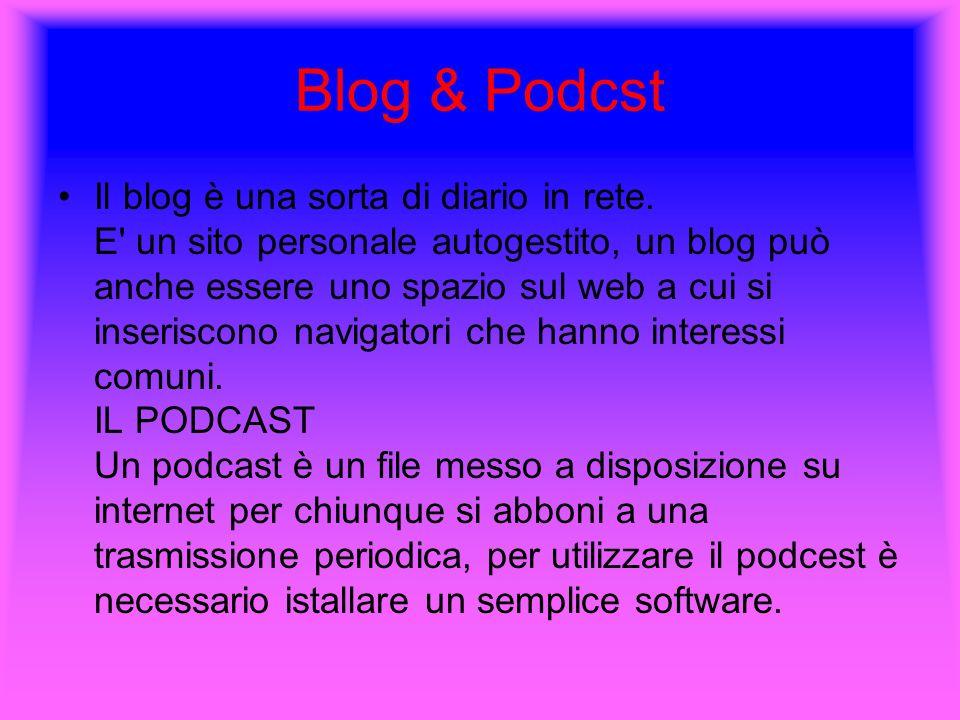 Blog & Podcst Il blog è una sorta di diario in rete. E' un sito personale autogestito, un blog può anche essere uno spazio sul web a cui si inseriscon