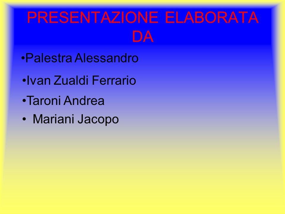 PRESENTAZIONE ELABORATA DA Mariani Jacopo Palestra Alessandro Ivan Zualdi Ferrario Taroni Andrea