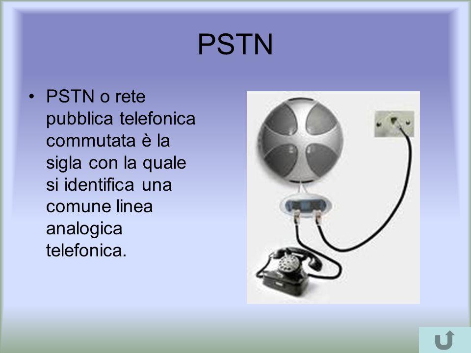 PSTN PSTN o rete pubblica telefonica commutata è la sigla con la quale si identifica una comune linea analogica telefonica.