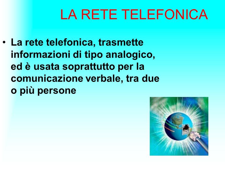 LA RETE TELEFONICA La rete telefonica, trasmette informazioni di tipo analogico, ed è usata soprattutto per la comunicazione verbale, tra due o più pe