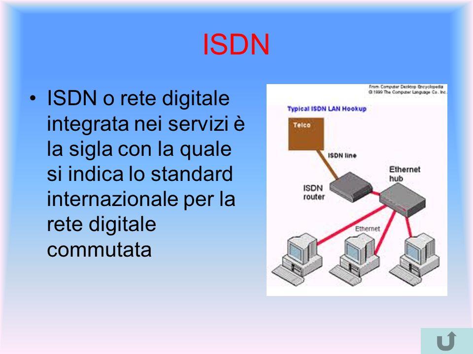 ISDN ISDN o rete digitale integrata nei servizi è la sigla con la quale si indica lo standard internazionale per la rete digitale commutata