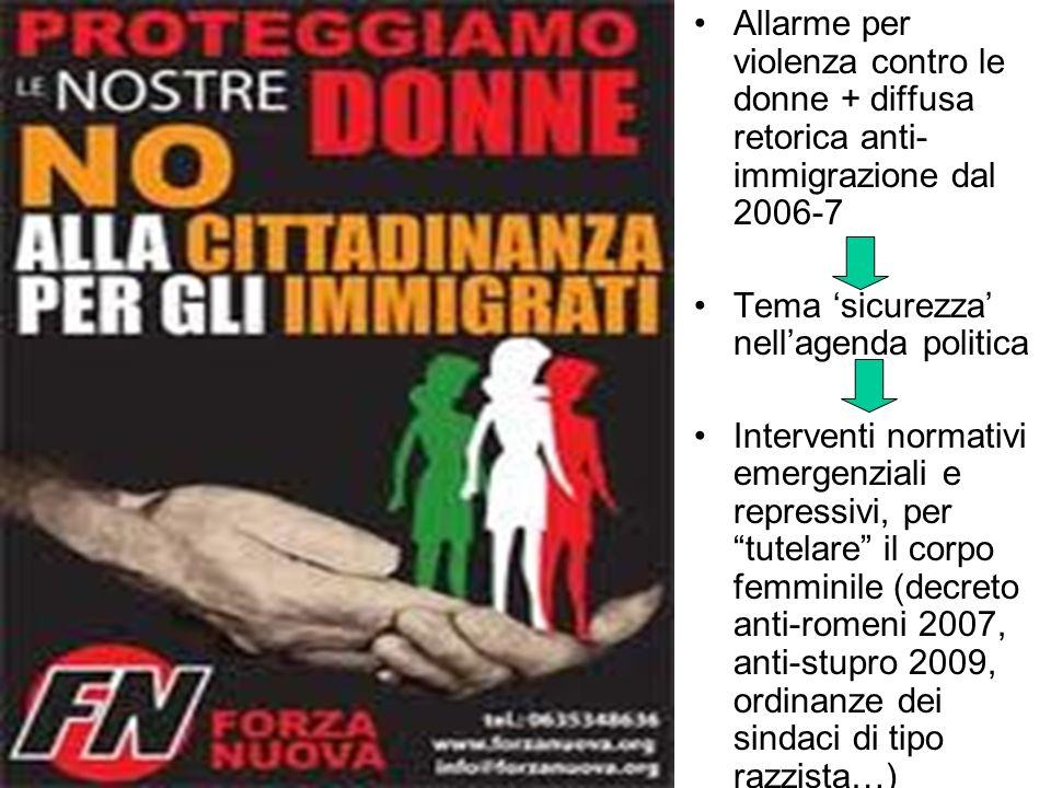 Allarme per violenza contro le donne + diffusa retorica anti- immigrazione dal 2006-7 Tema sicurezza nellagenda politica Interventi normativi emergenziali e repressivi, per tutelare il corpo femminile (decreto anti-romeni 2007, anti-stupro 2009, ordinanze dei sindaci di tipo razzista…)