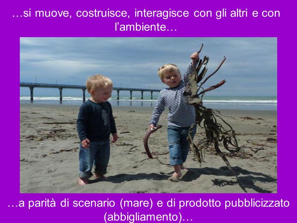 …si muove, costruisce, interagisce con gli altri e con lambiente… …a parità di scenario (mare) e di prodotto pubblicizzato (abbigliamento)…
